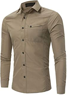 Soft and Close Solid Color Casual Men's Long-Sleeved Shirt, Buttoned Shirt Selling Slim Men wl (Color : Khaki, Size : M)