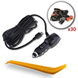 SHISHUO Car Charger - 3.5m Cigarette Lighter Charger for Dash Cam and GPS with Mini USB Port, Wide Voltage Capacity from 8V to 36V Suitable for Truck, 5V/2A Steady Output, with 30 Cable Clips and Crow