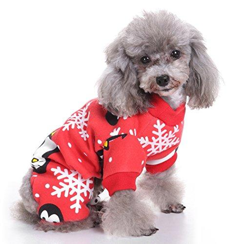 Ropa para Mascotas, Legendog Pijamas de Navidad para Perros Pingüino Copo de Nieve Impreso Ropa para Mascotas Mono...