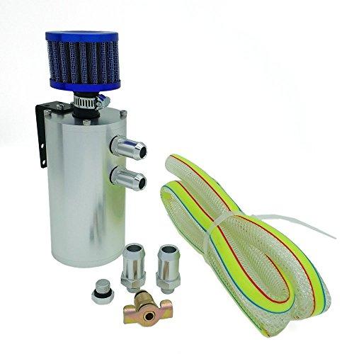 Heinmo Réservoir d'huile universel en aluminium avec kit de reniflard 500 ml (argent)