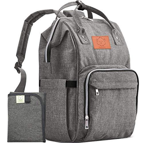 Diaper Bag Backpack - Large Waterproof Travel Baby Bags (Classic Gray)