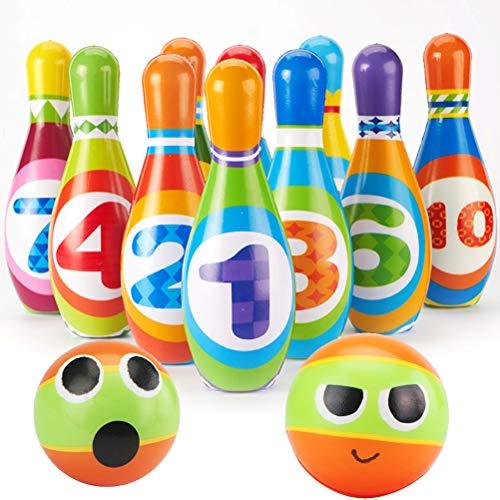 Set da Bowling con 2 Palle e 10 Birilli Giocattoli di Sport Gioco per Bambini 2 3 4 Anni
