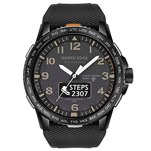 AIMAISEN Reloj Militar para Hombre, Reloj Inteligente de Pantalla Dual Impermeable de 50M, Reloj de Pulsera con Bluetooth y podómetro de frecuencia cardíaca (Black)