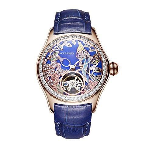 REEF TIGER Damen Uhr analog Automatik mit Leder Armband ORGA7105-PLLD