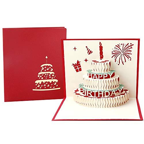 3D Emergente Tarjeta de Felicitación Cumpleaños con Sobre, Creatividad Tarjeta de Cumpleaño de Pastel con Vela Rojo para Familia, Amigo para Cumpleaño, Graduación - Rojo