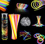 """❤ GLOW STICKS BULK PARTY FAVORS FOR KIDS AND ADULTS: 100 party pack of 8"""" premium-quality flexible glow sticks and 100 connectors; Fun for kids and adults to use as glow party decorations, carnival bulk prizes and blacklight party supplies ❤ KEEP GLO..."""