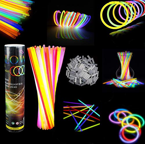 DELEE Bulk Party Favors 100pk - 8' Glow in the Dark Party Supplies Light Sticks, Halloween...