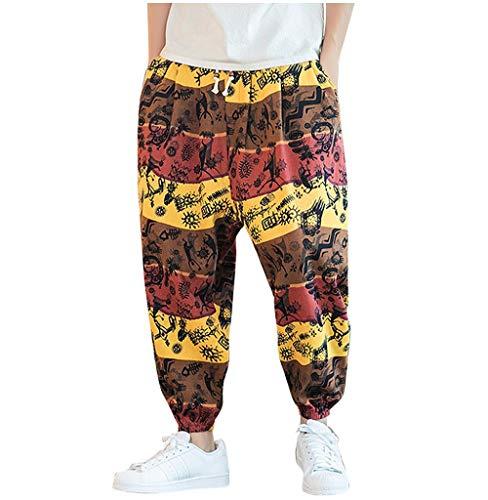 Tomatoa Herren Haremshose Aladinhose Jogginghose Pluderhose Männer Hosen Yoga Goa Sporthose Regular Fit Pants Freizeithose Print Trainingshose Streetwear Outdoors Hose M - 5XL