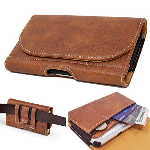AIScell Executive Brown Wallet Leather Pouch Carrying Case Belt Loop Holster for iPhone 12 Pro Max,11 Pro Max, Xs Max, 8 Plus, 7 Plus,6S Plus, 6 Plus,Already with Cover Case on 09