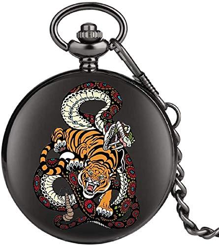 N / A Pocket Watch, Tiger Serpent modèle Quartz Pocket Rampe chaîne de Montre Hunter Animal Montre avec Fob chaîne Les Cadeaux pour Hommes Femmes