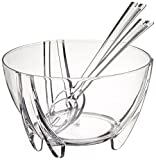 Prodyne Acrylic Salad Bowl with Servers, Clear...