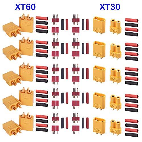 GTIWUNG 5 Pares XT60 Conectores, 5 Pares XT-30 Macho Hembra Conectores de Bala, 10 Pares T-Plug Conectores Deans Estilo con 60 Piezas Tubo encogible para RC LiPo Batería