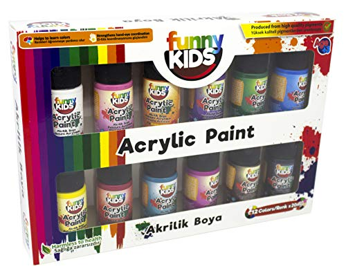 Funny Kids - Juego de pinturas acrílicas para niños a base de agua, 12 colores de 20 ml