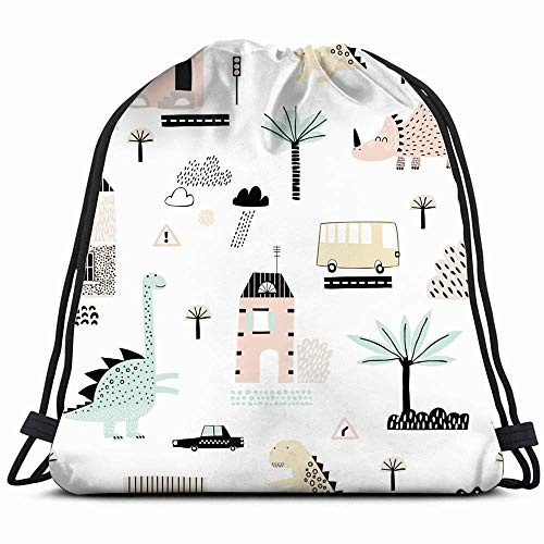 Cartoon City Dinosaurs Playing It Childish Parks Outdoor Drawstring Backpack Gym Dance Bags for Girls Kids Bag Shoulder Travel Bags Birthday Gift for Daughter Children Women