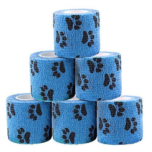 Bendaggio Coesivo, 6 Rotoli camuffamento Benda Elastica bendaggio Adesiva Coesiva Benda Autoadesivo per Cane e gatto