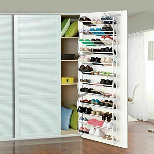 Hanging Shoe Rack - Over Door - 36 Pair - Storage Organizer White