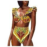 Lazzboy Swimwear Frauen African Print Bikini Set Bademode Push-up Gepolsterter BH Badeanzug Beachwear Tribal Metallic Swimsuit Cutout Halter Neck Bathing Suit(Gelb,M)
