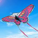Funyole Cometas Mariposa Coloridas 1 Paquete, Cometas Mariposa Grandes y Fáciles de Volar para Niños y Adultos, Vuelan fácilmente en Vientos Fuertes o Ligeros en el Parque, Playa, (130*60cm)