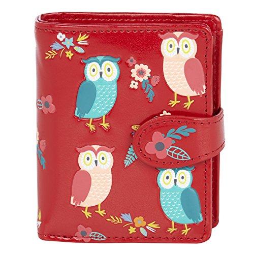 Shagwear ® Portemonnaie Geldbörse Damen Geldbeutel Mädchen | Bifold Mehrfarbig Portmonee Designs: (Eule Garten Rot/Owl Garden Red)