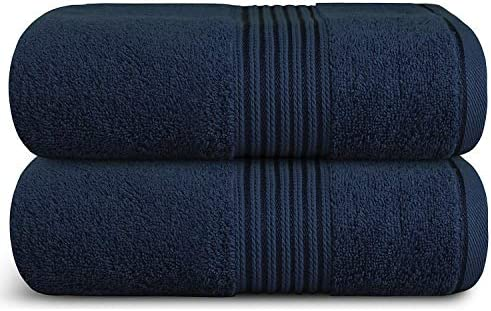 Zuperia Bath Towels 34 x 66 Set of 2 Ultra Soft 100 Combed Cotton Large Bath Towel Navy Blue product image