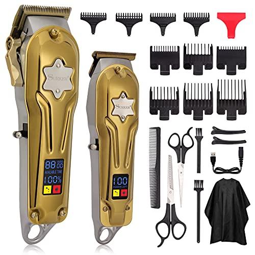 Haarschneidemaschine Profi Haarschneider für Herren, 2 Haartrimmer T-Blade, Haartrimmer Kinder Herren mit 10 Führungskämme und LCD Anzeige, Kabellos Hair Trimmer