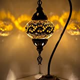 Mosaik Lampe–Türkisch Mosaik & Schreibtisch Lampe, atemberaubende, Einzigartige Globe Lampenschirm, marokkanischer Stil, Schwanenhals Serie Gelb 1