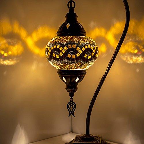 Lámpara de mosaico turco para mesa y escritorio, estilo marroquí, pantalla de globo único, serie de cuello de cisne (amarillo 1)