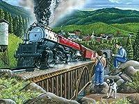 DMFNGJSD 数字油絵 フレーム付き 、数字キット塗り絵 手塗り DIY絵-電車の風景-デジタル油絵 40x50 cm
