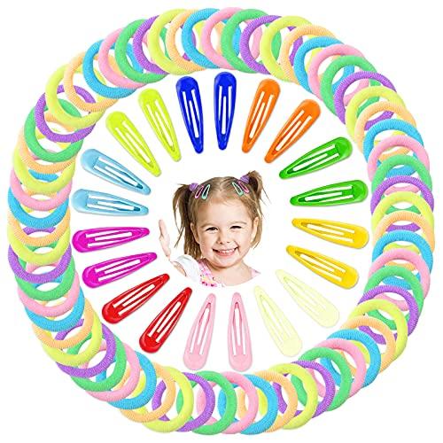 Hanyousheng Elastici Capelli, Multicolori Elastiche per Capelli Set, Fermagli per Capelli Lacci per Capelli Set, 120 Pezzi Mollette per Capelli Bambina Elastici, Capelli Accessori per Bambina