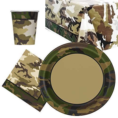 Party Bags 2 Go Militare Mimetico Pacco Articoli per La Tavola per Festa per 8