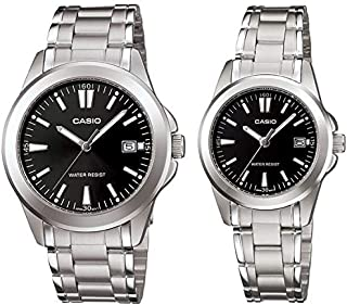 Casio His & Hers Black Dial Stainless Steel Band Couple Watch - MTP/LTP-1215A-1A2