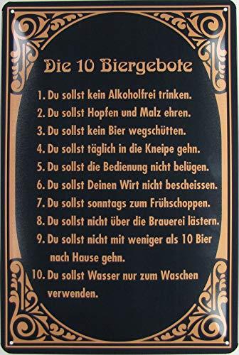 Blechschild 20x30cm gewölbt Die 10 Bier Gebote Humor Spruch Sprüche Deko Geschenk Schild