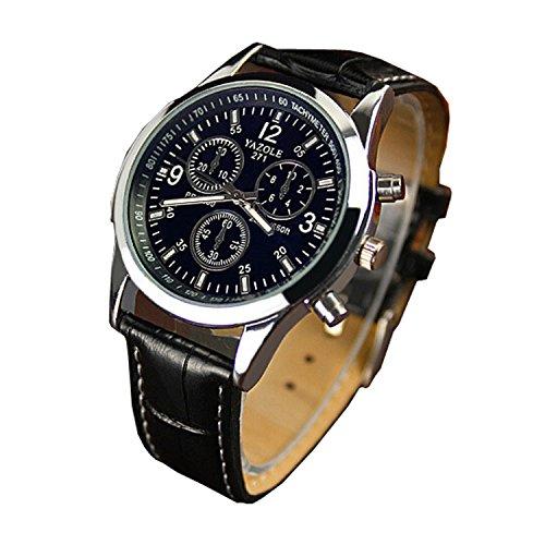Genossen Luxus-Mode Kunstleder Herren Blue Ray Glas Quartz Analog Uhren Schwarz