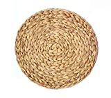 HomeFSN Round Braided Placemats Set of 4, Water Hyacinth Weave Placemats Handmade 13.5 Inches Table Mats for Dining Tables, Wedding, Parties, BBQ's, Everyday, Holidays