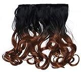 WIG ME UP - CMT-863-1BTT30 clip-in extension de cheveux arrière de la tête large 5 clips bouclé boucles dégradé noir brun cuivré 40 cm