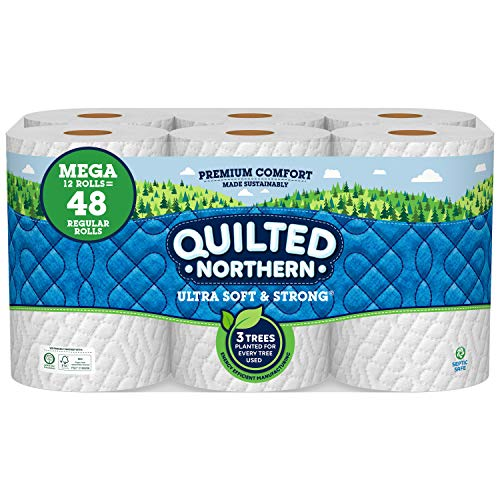 Quilted Northern Ultra Soft and Strong Earth-Friendly Toilet Paper, 12 Mega Rolls = 48 Regular Rolls, 328 2-Ply Sheets Per Roll Packaging May Vary