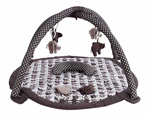 Bacati Elephants Unisex Activity Gym with Mat, Grey
