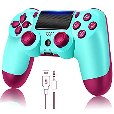 Wireless Controller for PS4, Remote for Playstation 4 with Charging Cable, Berry Blue Remote,New Model from TATECH