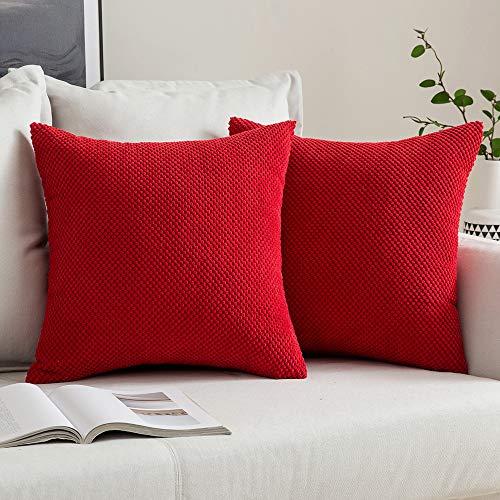 """MIULEE 2er Set Granulat Kissenbezug Ananas Weiches Massiv Dekorativen Quadratisch Überwurf Kissenbezüge Kissen für Sofa Schlafzimmer 16""""x16"""" 40 x 40 cm Rot"""