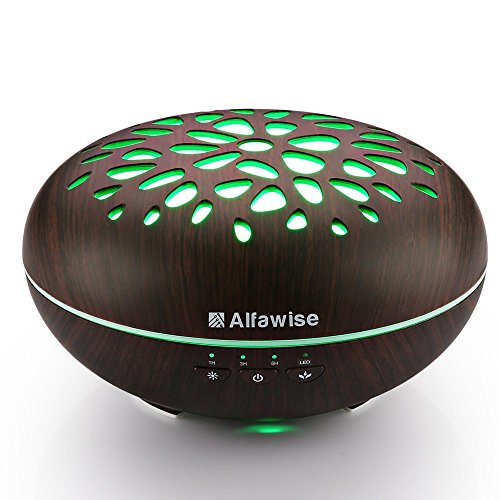 Alfawise 300ml Essential Oil Diffuser Aromatherapy Humidifier Compatible with Alexa, 7 Colors LED Light Adjustable Waterless Auto Shut-off Mist Aroma for Office Home Bedroom Yoga Spa Salon Use