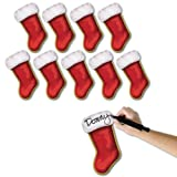 Beistle 10-Pack Mini Christmas Stocking Cutouts, 7-1/4-Inch, Pkg/1, Red/White/Gold