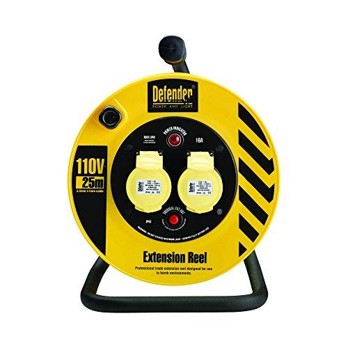 Defender E86450 Leichte Industrie-Kabeltrommel, 25 m, 16 A, 2-Wege, 1,5 mm, 110 V, gelb/schwarz