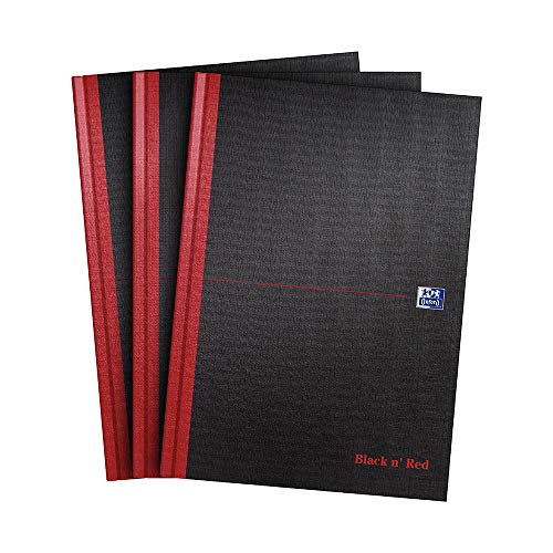 Oxford Black n' Red Notizbuch, A4, fester Einband, Hardcover 3er-Pack A4
