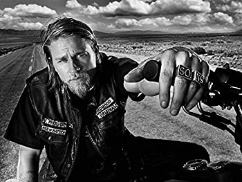 Sons of Anarchy Poster Main Cast Poster Leather Vest Print Motorbike Poster Rings Poster White and Black Print TV Show Print Charlie Hunnam Poster Jax Teller Print  XL - 24   x 36