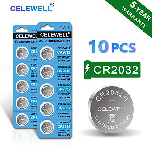 【5-Year Warranty】 CELEWELL 10 Pack CR2032 Battery CR2032H 230mAh 3 Volt Lithium Battery 2032 ECR2032 Coin Button Cell