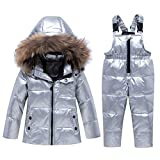 Skijakkeset Baby Girls Two Piece Winter Warm Hooded Fur Trim Snowsuit Puffer Down