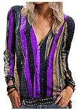 Wsgyj52hua OtoñO 2020 Nueva Gran Oferta Camisa Mujer Europea Y Americana ImpresióN A Rayas Casual Camisa De...