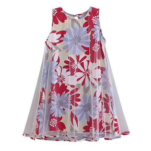 Julhold Peuter Baby Kids Meisjes Mode Elegante Mouwloos Blad Bloemen Print Tule Jurk Losse Casual Kleding 3-8 Jaar