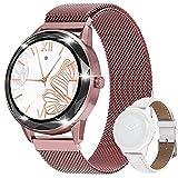 Montre intelligente pour femme, étanchéité IP67, montre de fitness avec écran tactile complet de 1,1', moniteur de fréquence cardiaque, podomètre, avec deux bracelets de montre, or rose