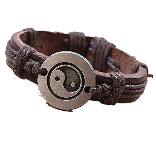 sunnymi Men Bracelet Damen Yin und Yang Legierung Armband Leder Geflochtenes Armband (Braun, 6cm)
